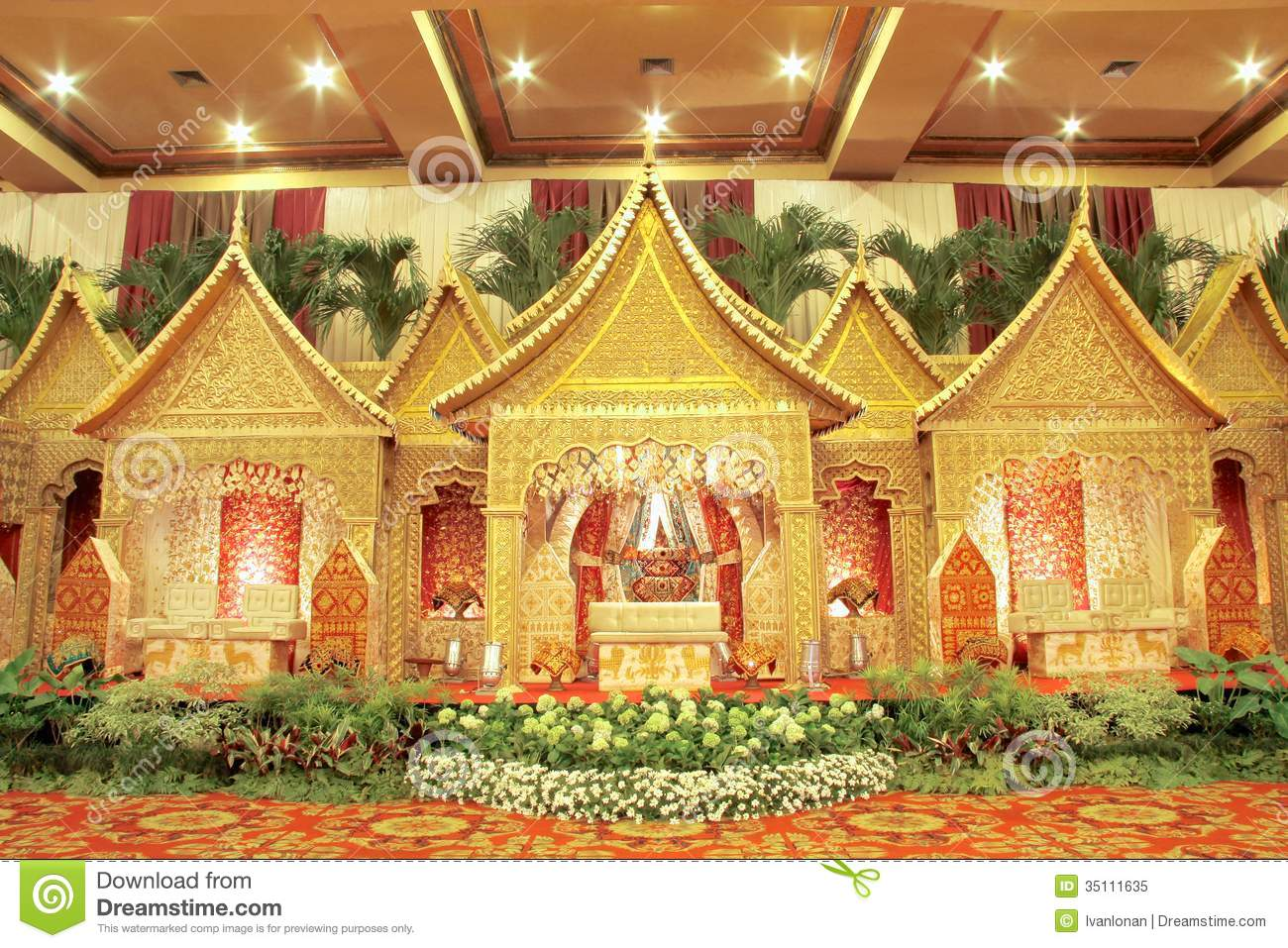 Indonesian traditional wedding decoration stock image for Indoor decoration ideas