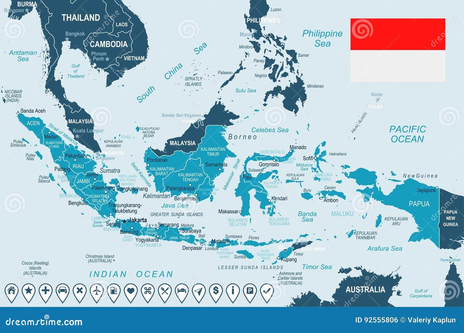 Indonesien Karte.Indonesien Karte Und Flagge Illustration Stock Abbildung