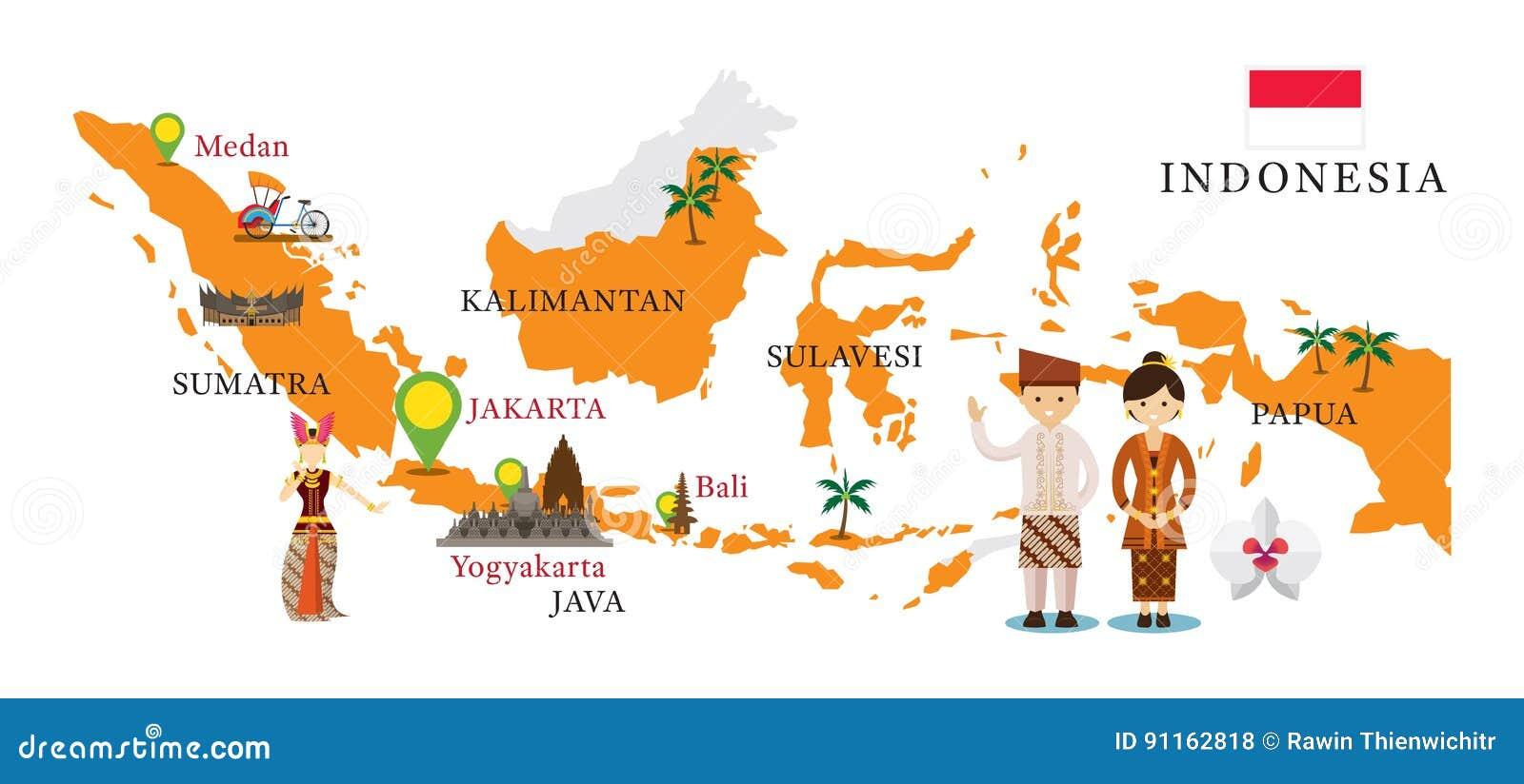 Indonesien Karte.Indonesien Karte Und Marksteine Mit Leuten In Der