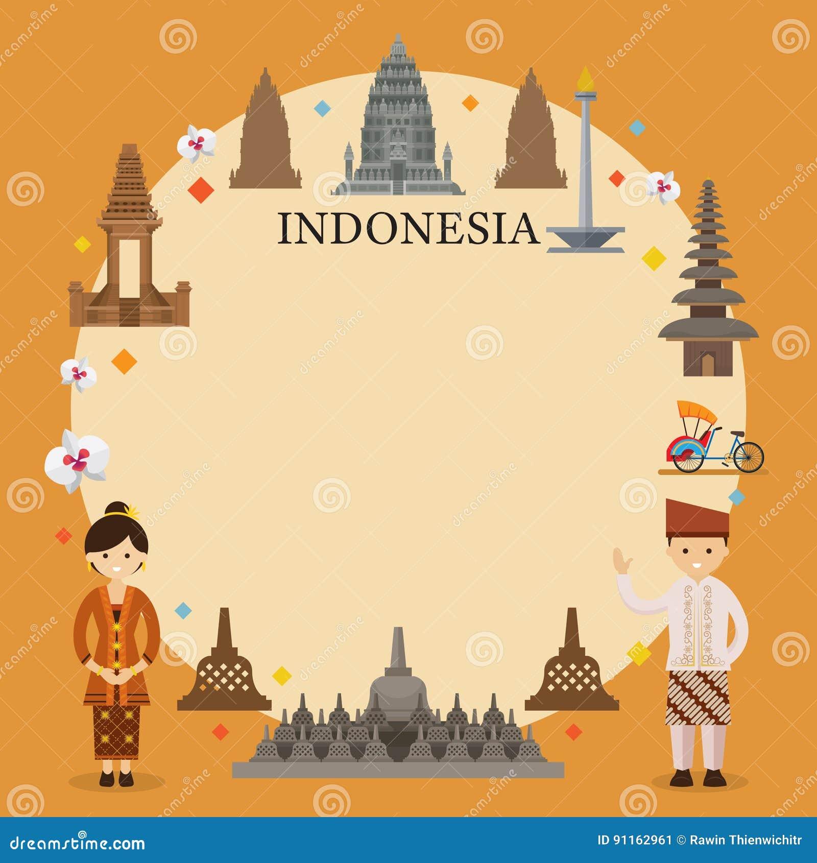Indonesien-Marksteine, Leute In Der Traditionellen Kleidung, Rahmen ...