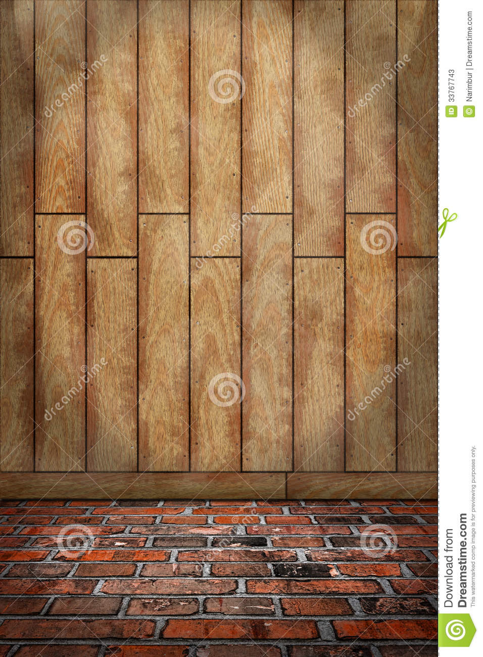 Indoor Background Brown Wood Wall Red Brick Floor Stock