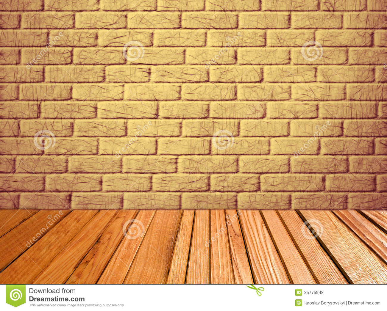 Z Brick Flooring : Indoor background with yellow brick wall and wooden plank