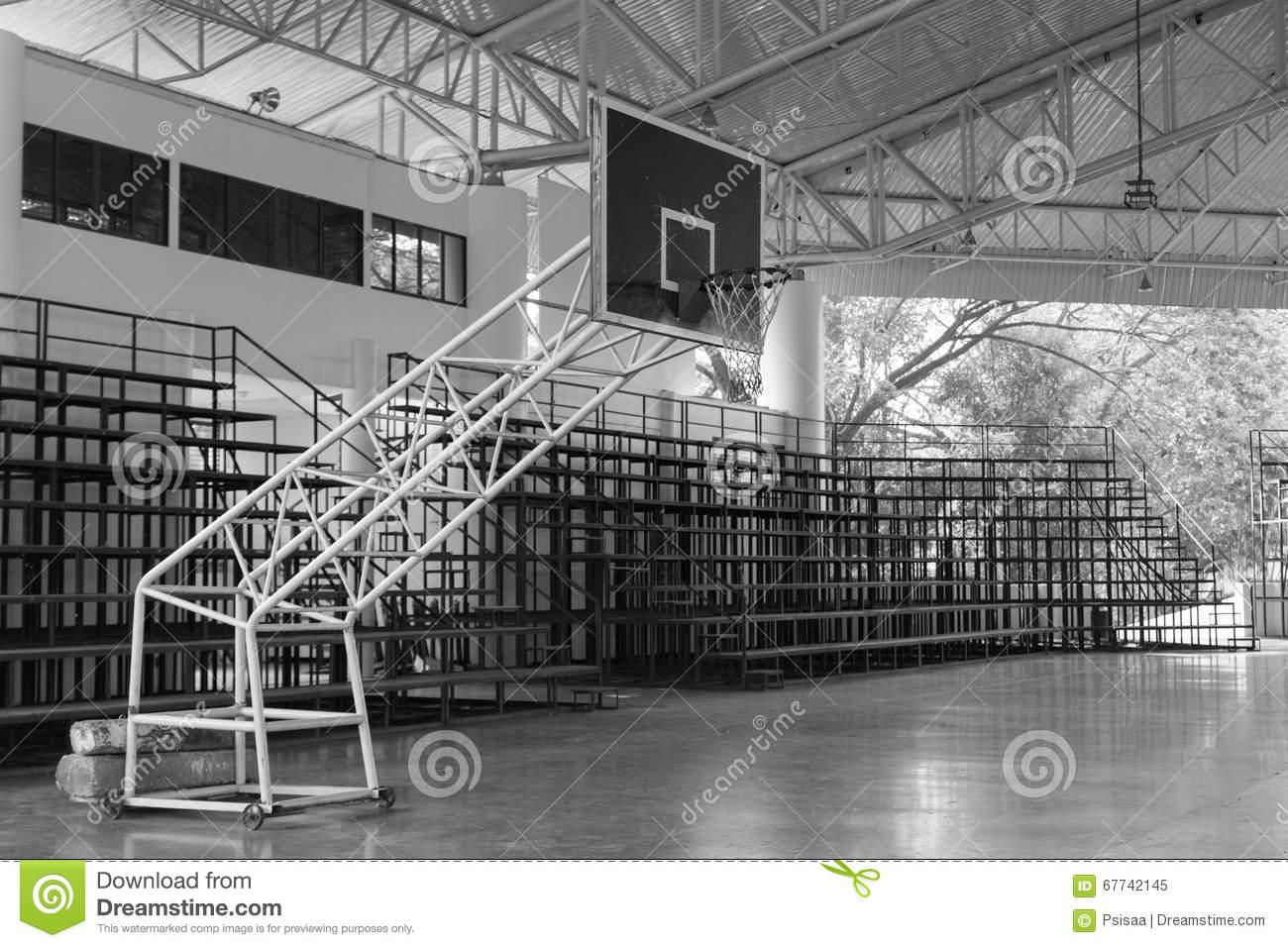 Indoor Basketball Court Field And Grandstand, Black And White Stock ...