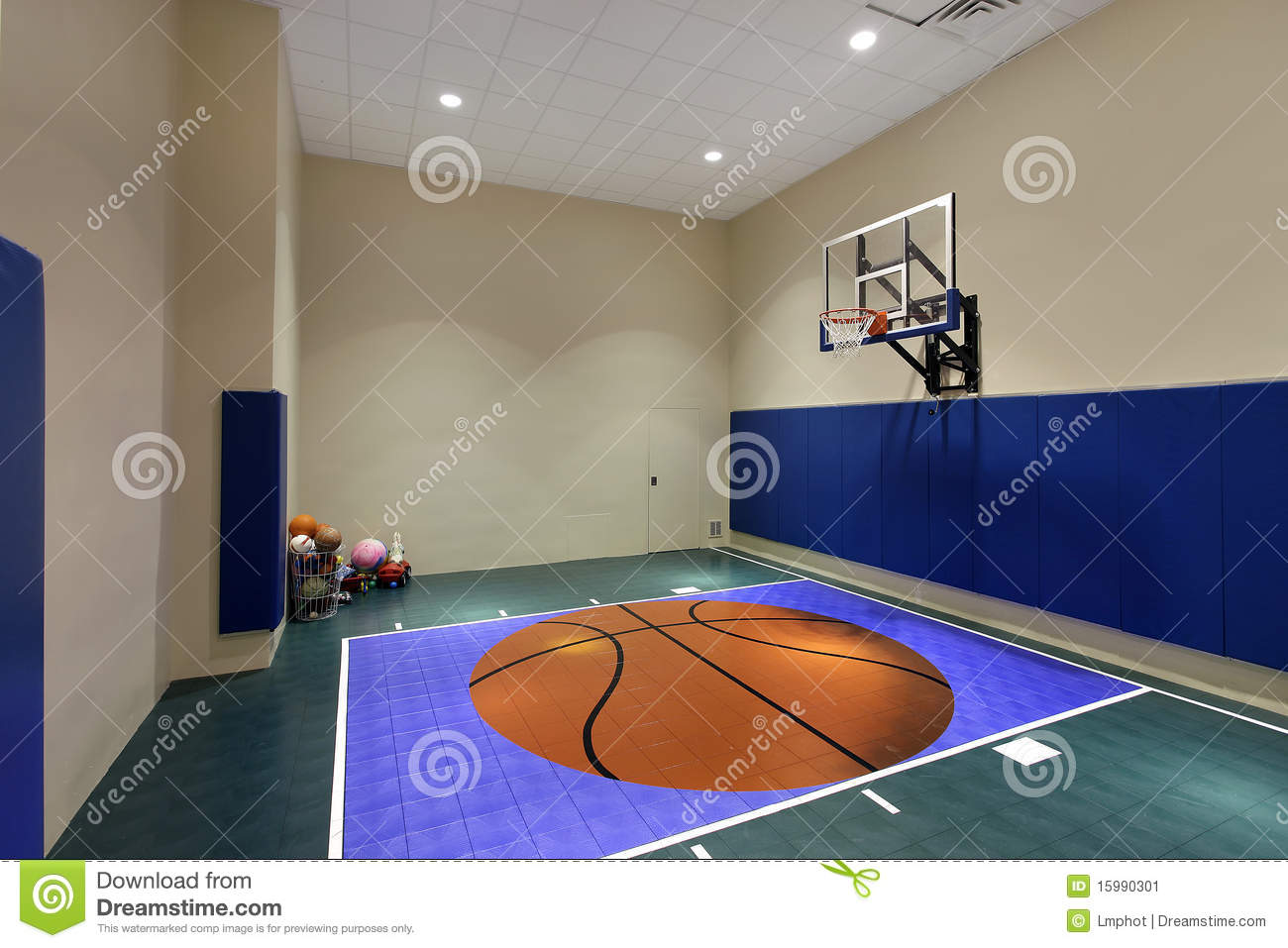 Indoor basketball court in home stock image image of for Home plans with indoor sports court