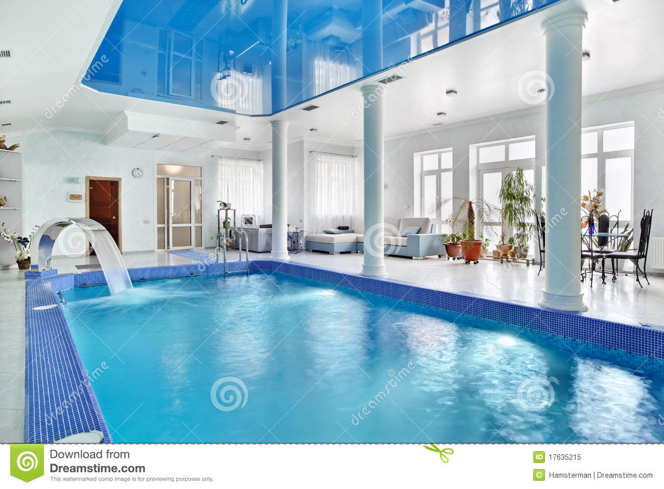 Big Houses With Pools Inside indoor big blue swimming pool interior royalty free stock photo