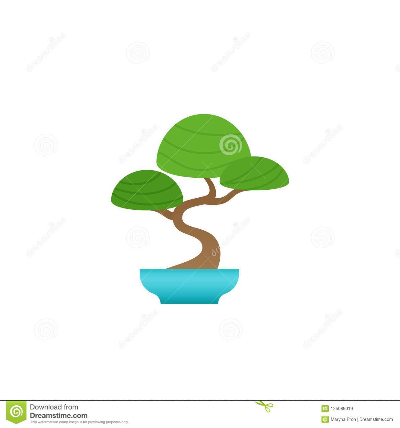 Indoor Bonsai Tree Potted Plant Vector Illustration Stock Vector Illustration Of Interior Chinese 125089019