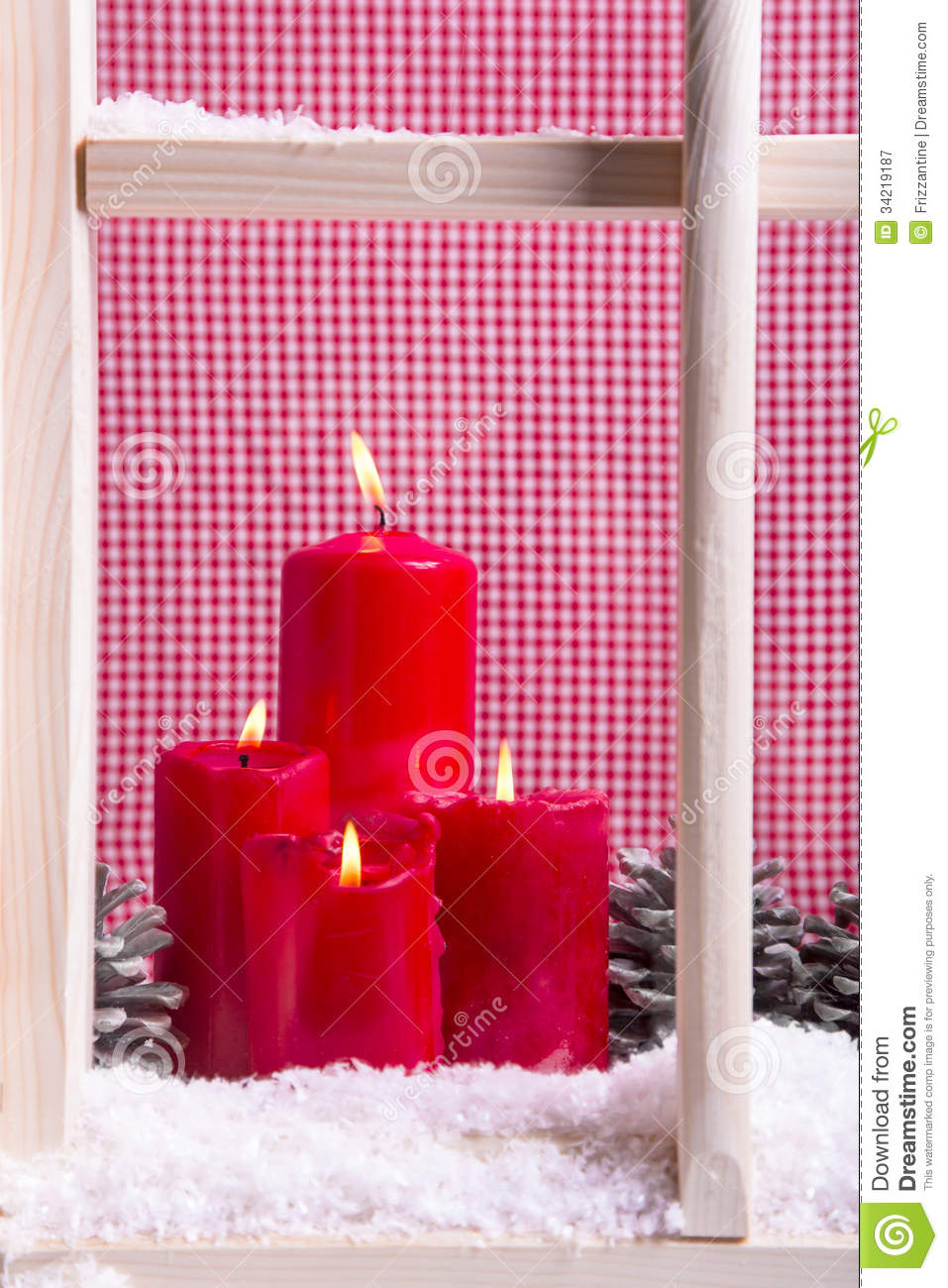 Indoor christmas window sill decoration four red candles for Indoor window christmas decorations