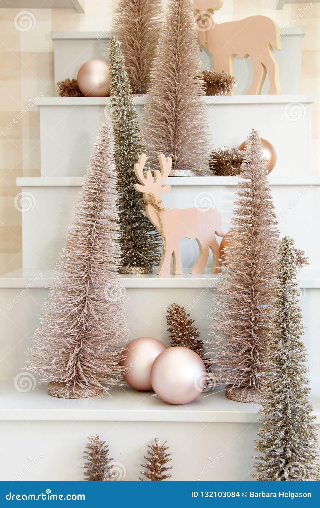 Wooden Reindeer And Christmas Tree Ornament Display Stock Photo Image Of Displayed Display 132103084