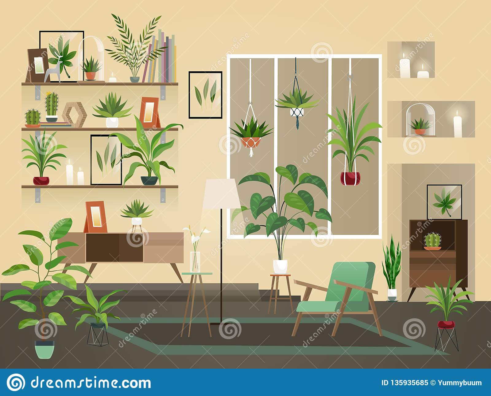 Indoor flowers into room. Urban home interior, vector living room with plants, chairs and vase