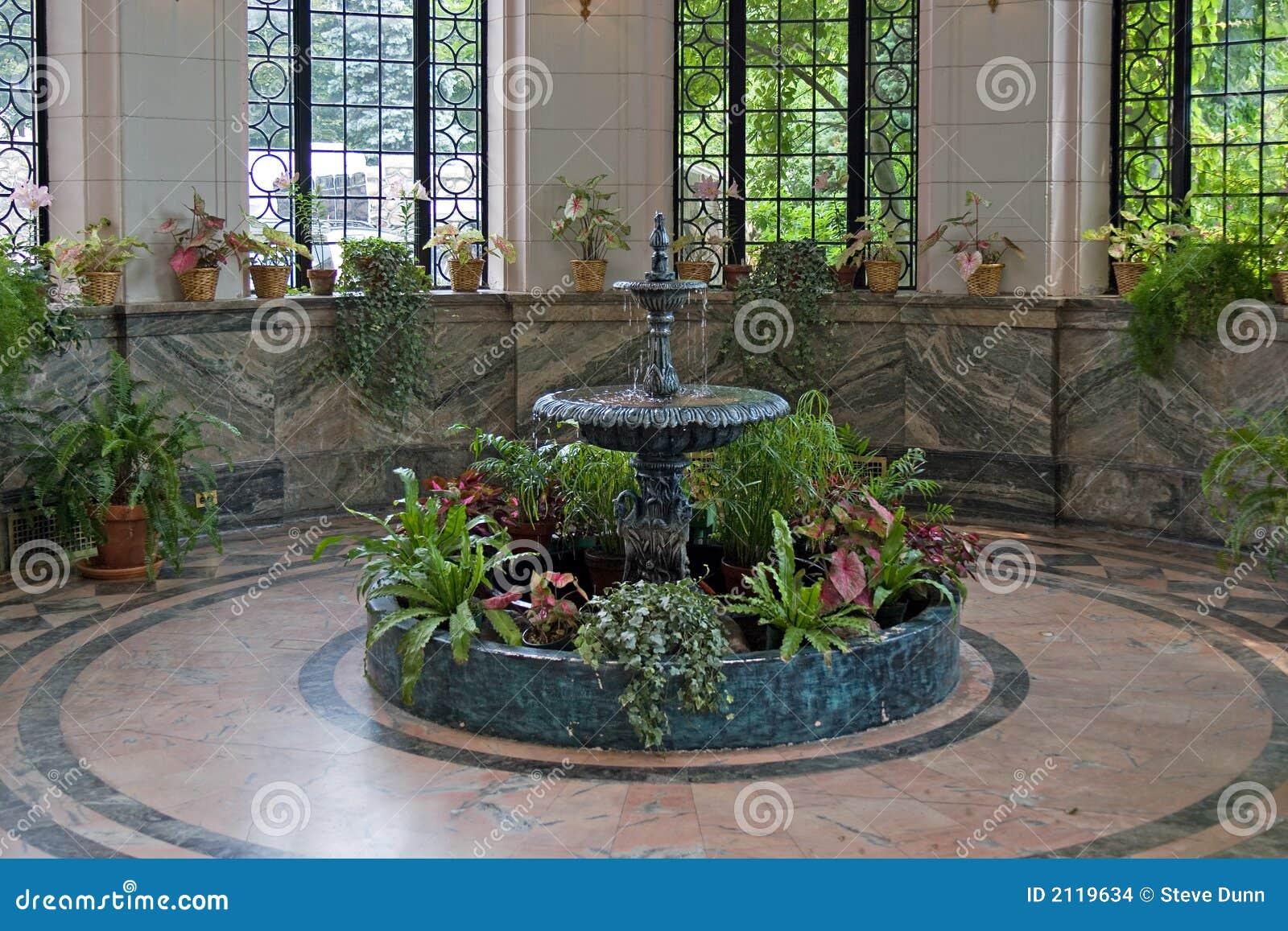 Indoor Fountain Stock Photo Image Of Green Indoor