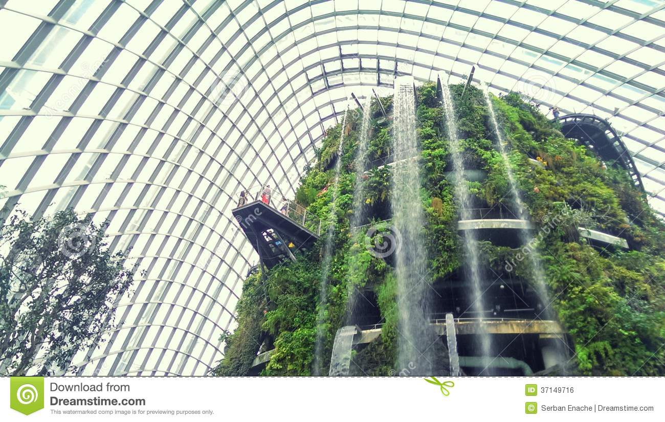 Indoor garden and waterfall stock photo image of tower for Indoor gardening singapore
