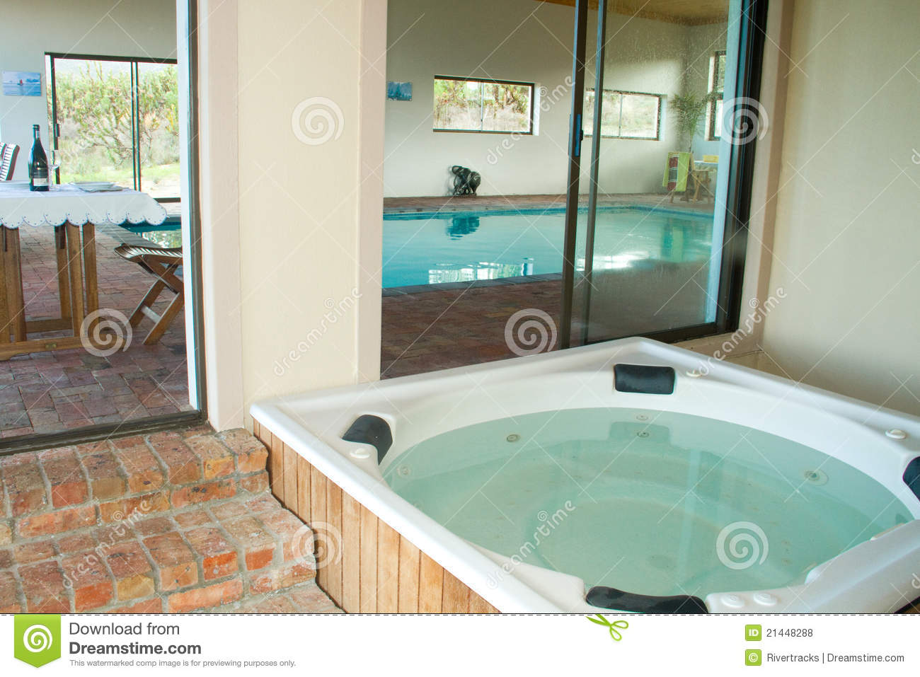 indoor heated swimming pool and jacuzzi royalty free stock. Black Bedroom Furniture Sets. Home Design Ideas