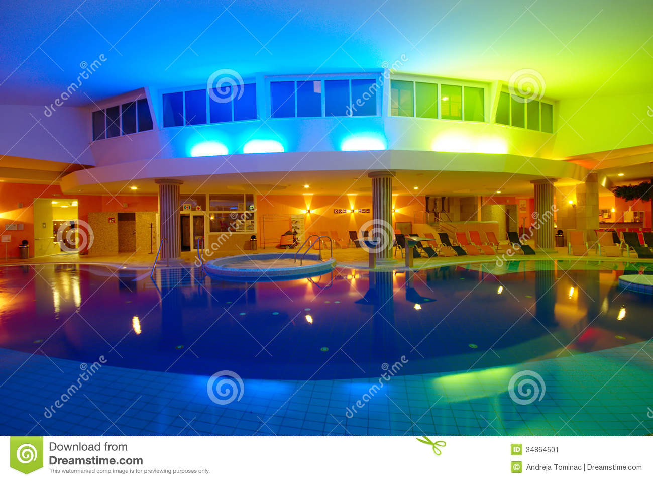 Indoor Hotel Swimming Pool By Night Editorial Photo