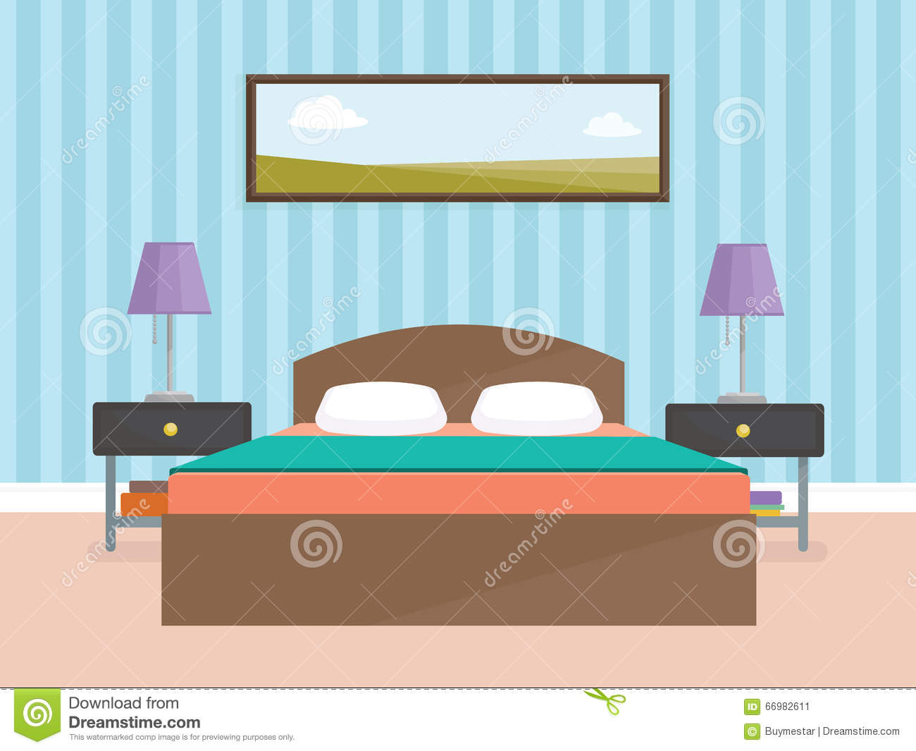 Indoor interior design for modern bedroom flat vector for Interior design images vector