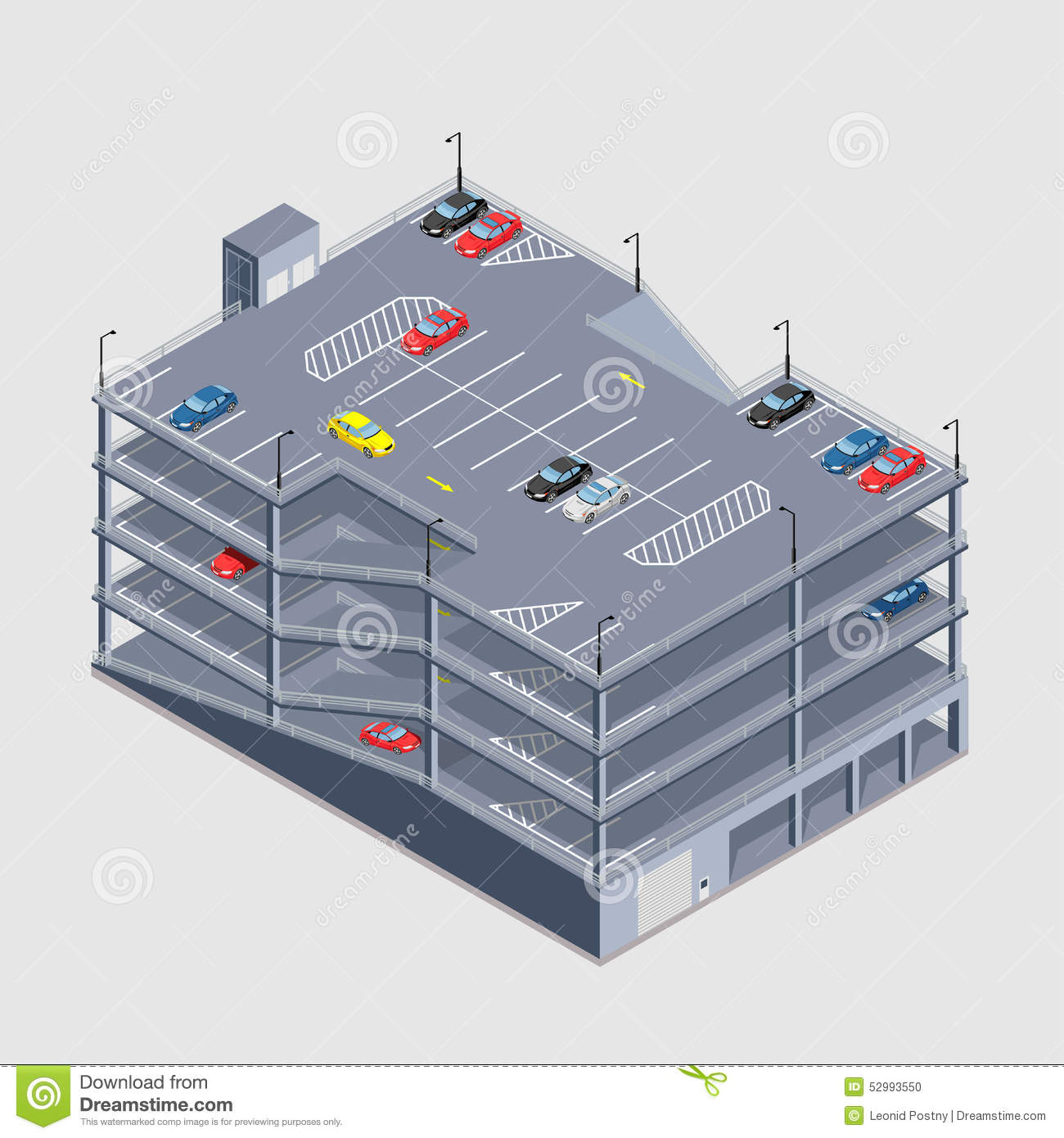 Indoor Multi-storey Car Park Stock Illustration