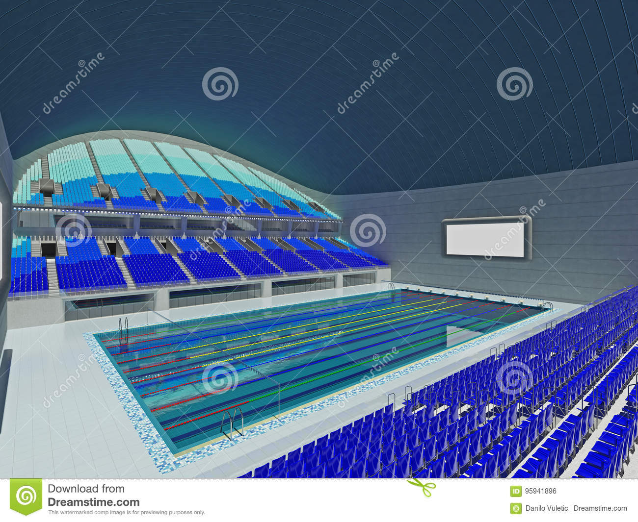 Indoor Olympic Swimming Pool Arena With Blue Seats Stock Illustration Illustration Of Indoor