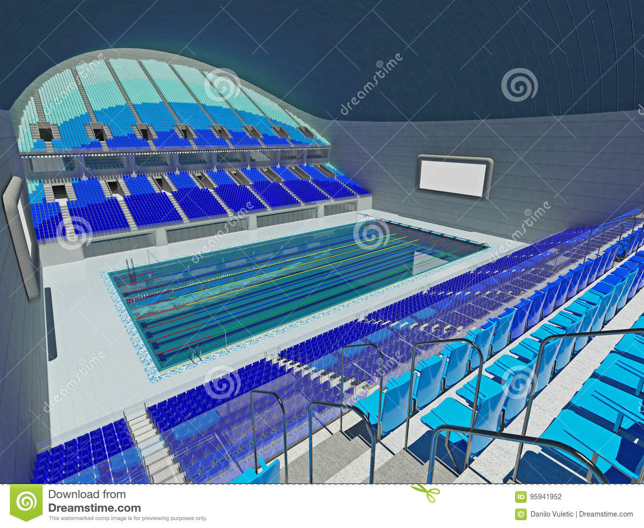 Indoor Olympic Swimming Pool Arena With Blue Seats Stock Illustration Image 95941952