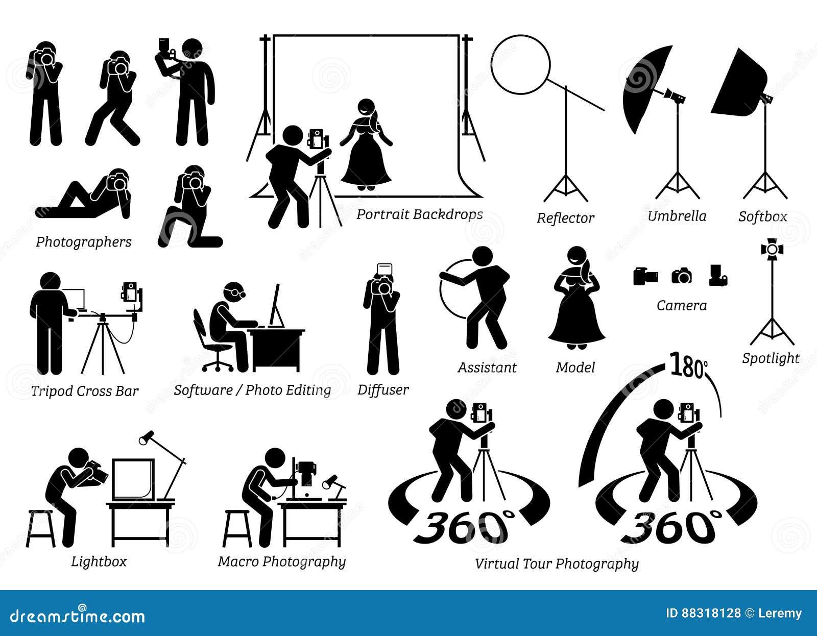 indoor photographer photography shooting  stock vector