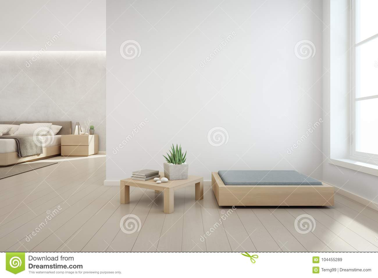 Indoor Plant On Wooden Coffee Table And Modern Furniture With Empty White Concrete Wall