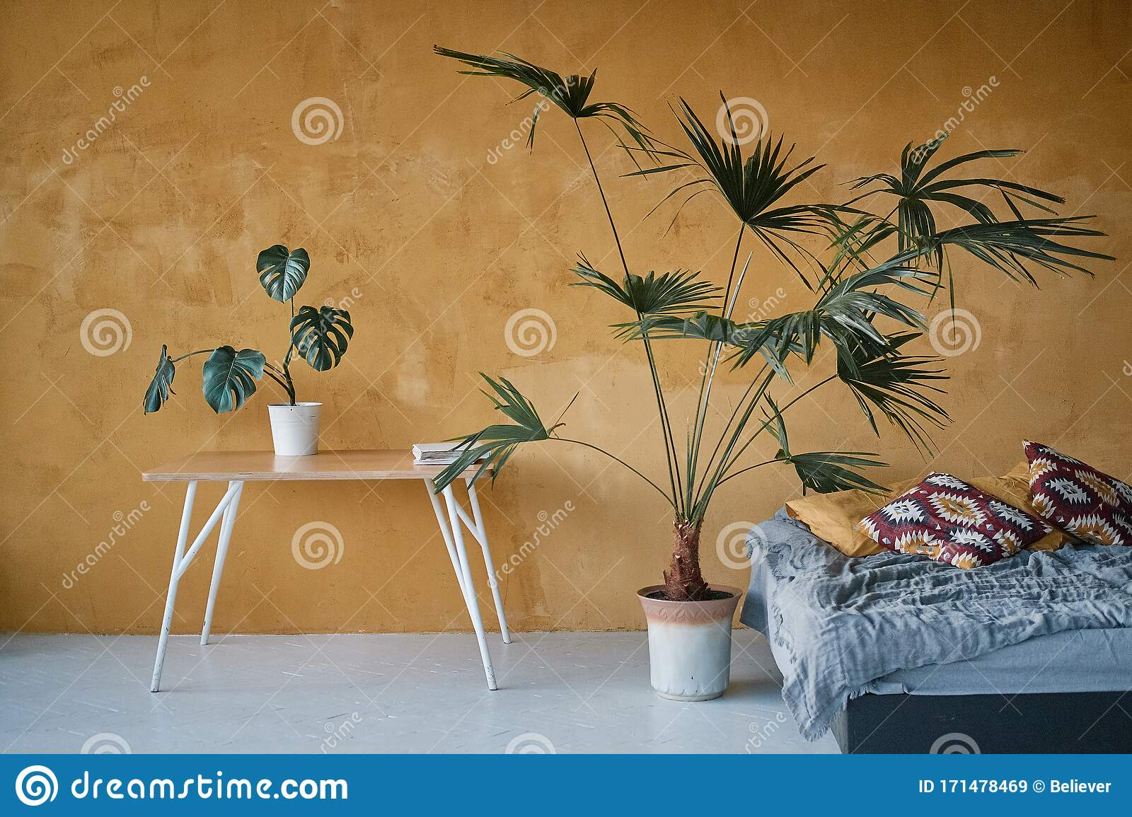 Indoor Plants And A Small Table In The Interior Of A Modern Bedroom The Painted Walls Are Dark Yellow Stock Image Image Of Plant Dark 171478469