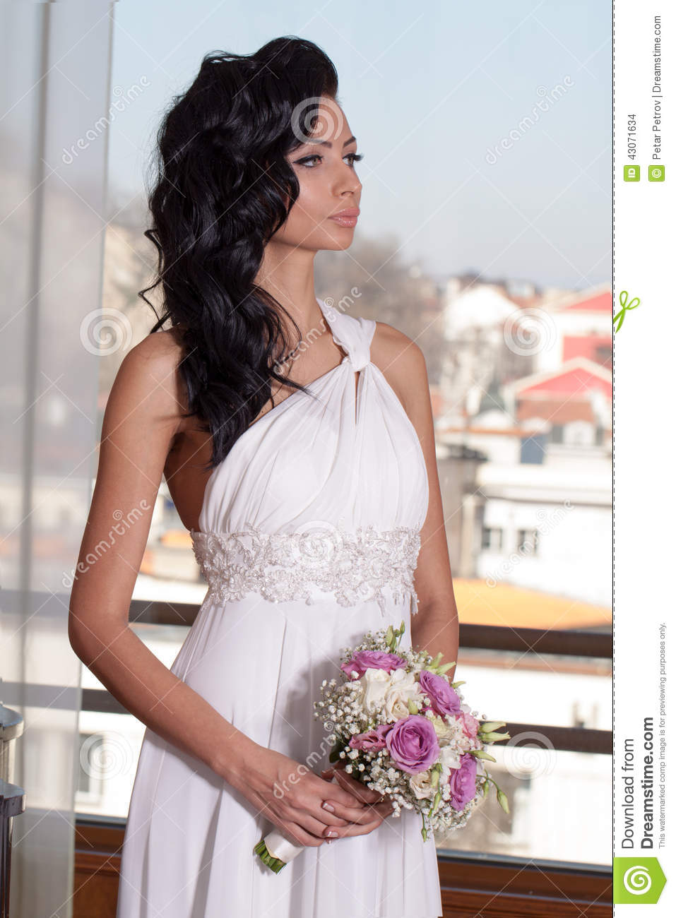 Indoor Portrait Of Adorable Bride With Black Long Hair In