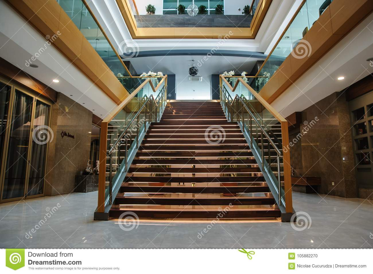 Indoor Stair View From Above In A Modern Interior Editorial Image