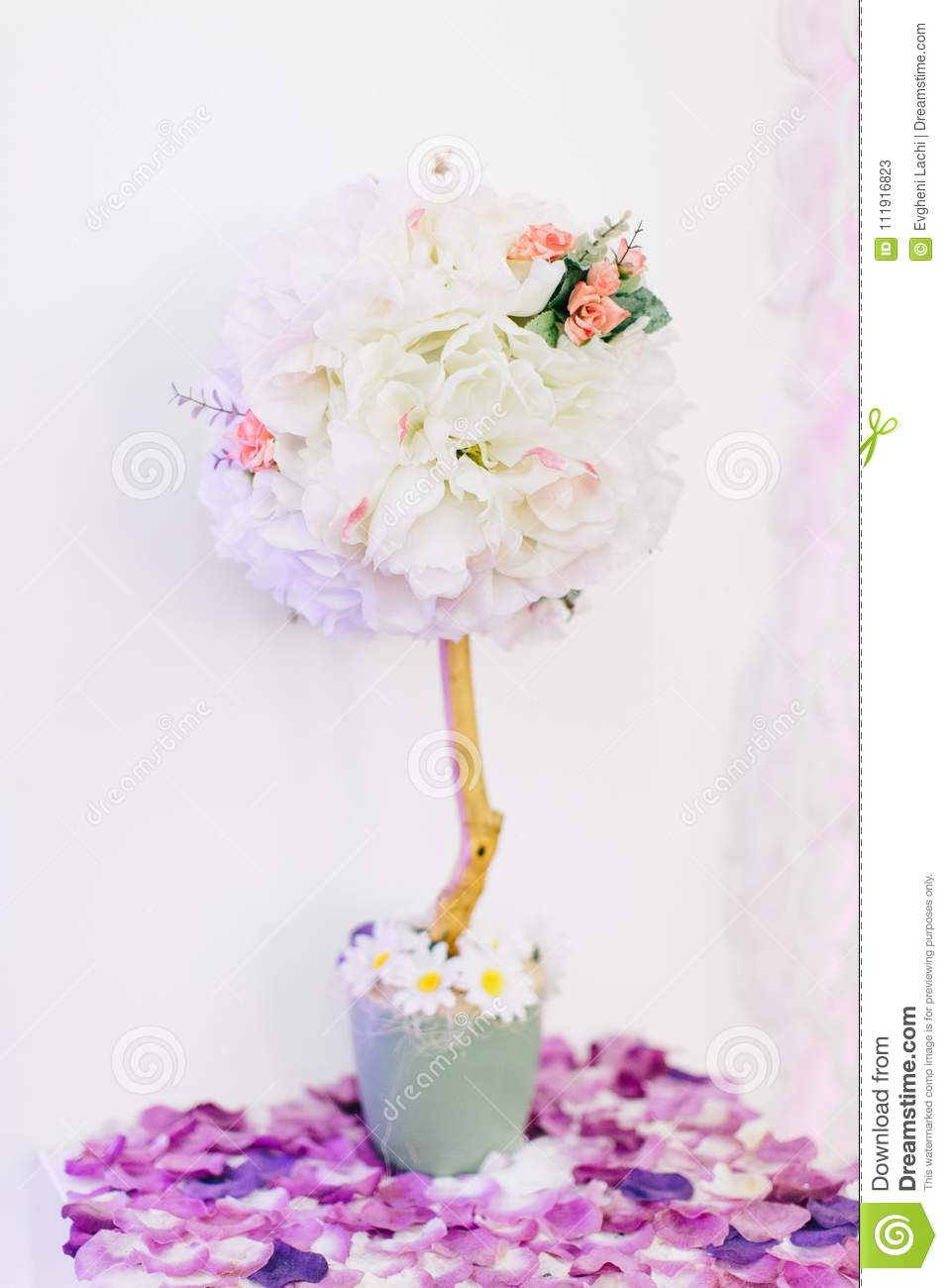 Indoor Summer Or Spring Flowers For Wedding Decor Stock Image