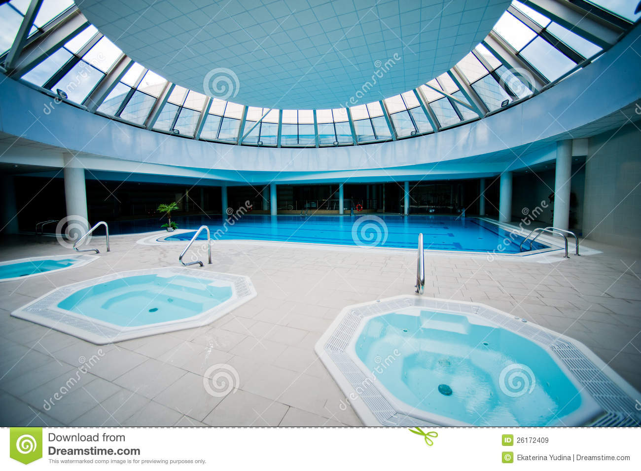 Indoor Swimming Pool With Jacuzzi Stock Image Image Of Luxury Bright 26172409