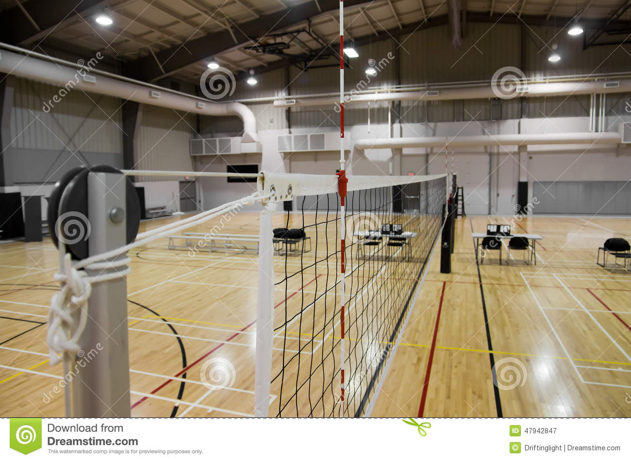 Indoor Volleyball Court Stock Photo - Image: 47942847