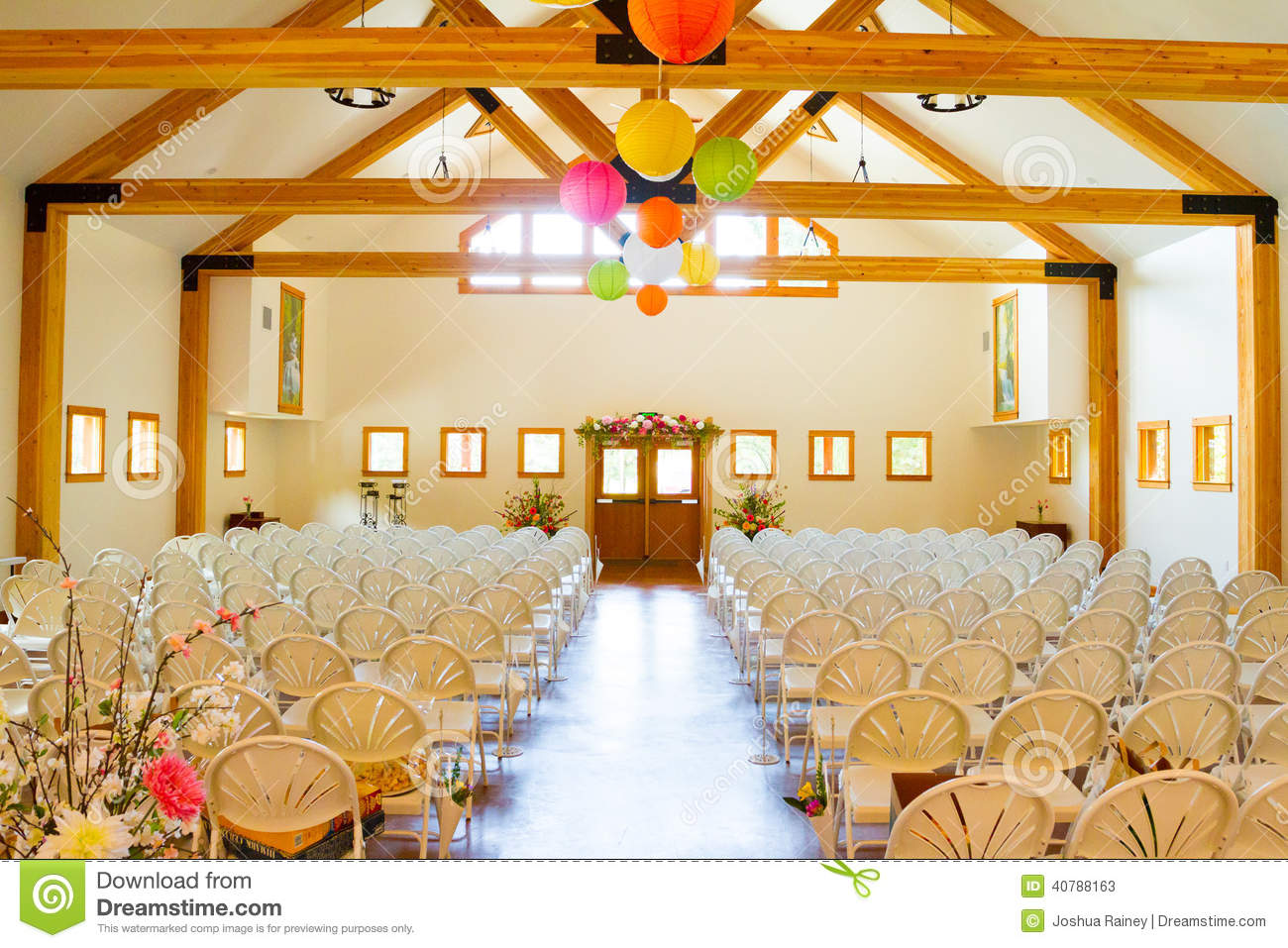All White Indoor Wedding Ceremony Site