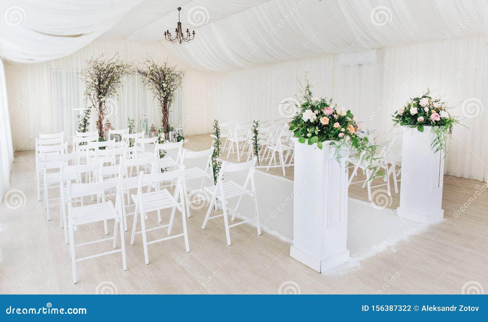 Open Air Wedding Ceremony Eucalyptus Wedding Royalty Free Stock