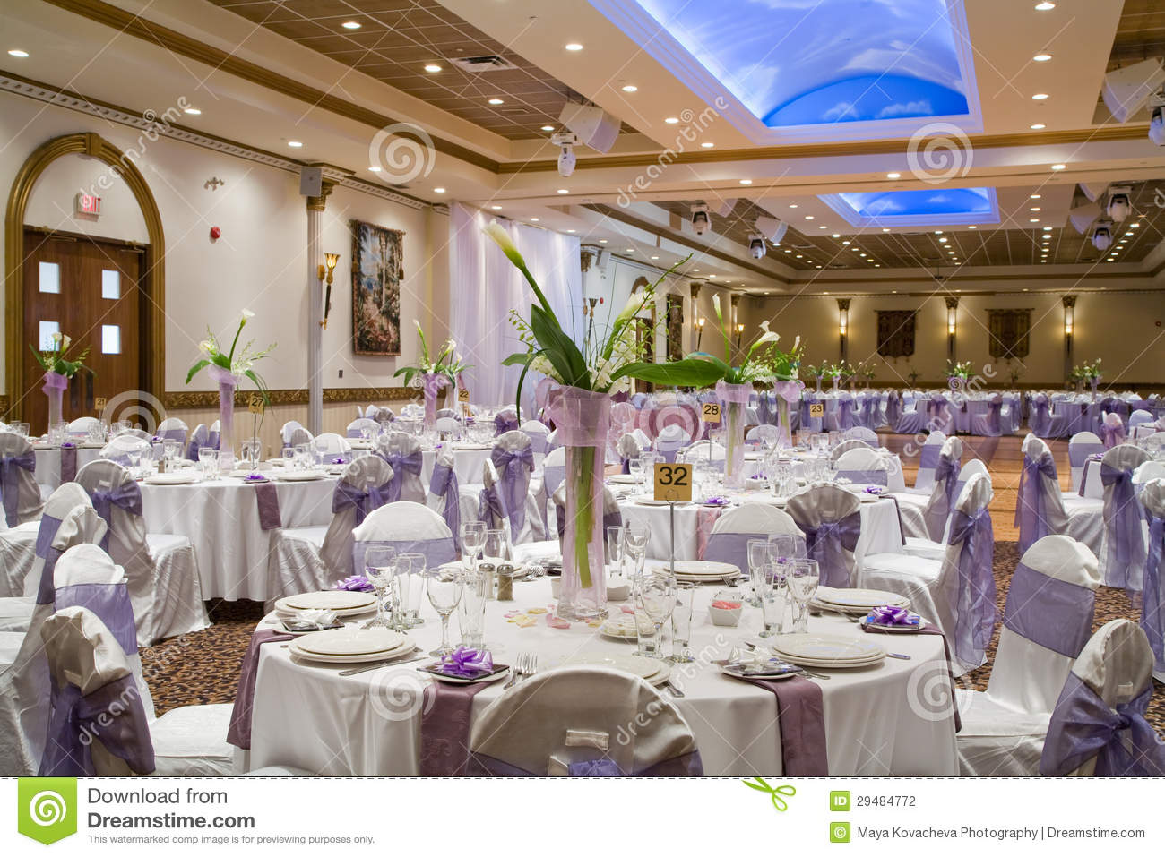 indoor wedding reception hall stock photo