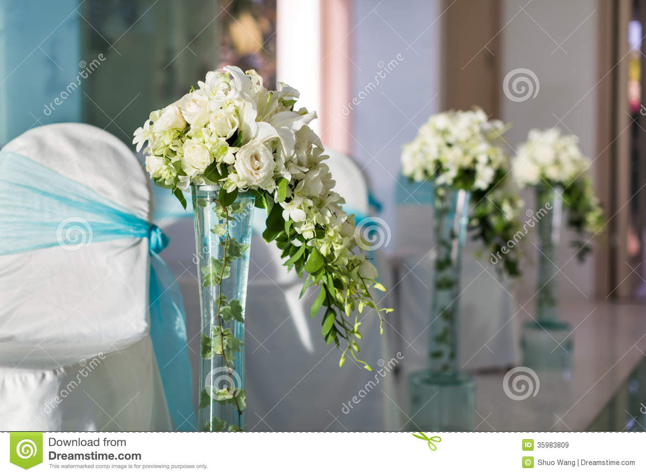 White Chairs At A Wedding Indoor Stock Photo: Indoor Wedding Scene Royalty Free Stock Images