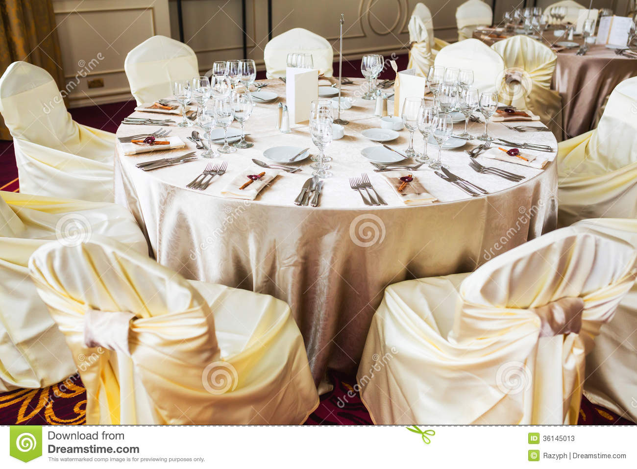 Indoor wedding table with beige decoration stock image - Chemin de table dentelle ancien ...
