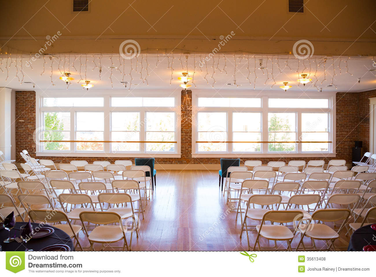 All White Indoor Wedding Ceremony Site: Indoor Wedding Venue Stock Photo. Image Of Chairs, Chair