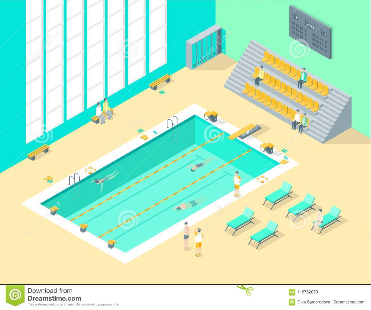 Indoors Swimming Pool Interior with People Isometric View. Vector