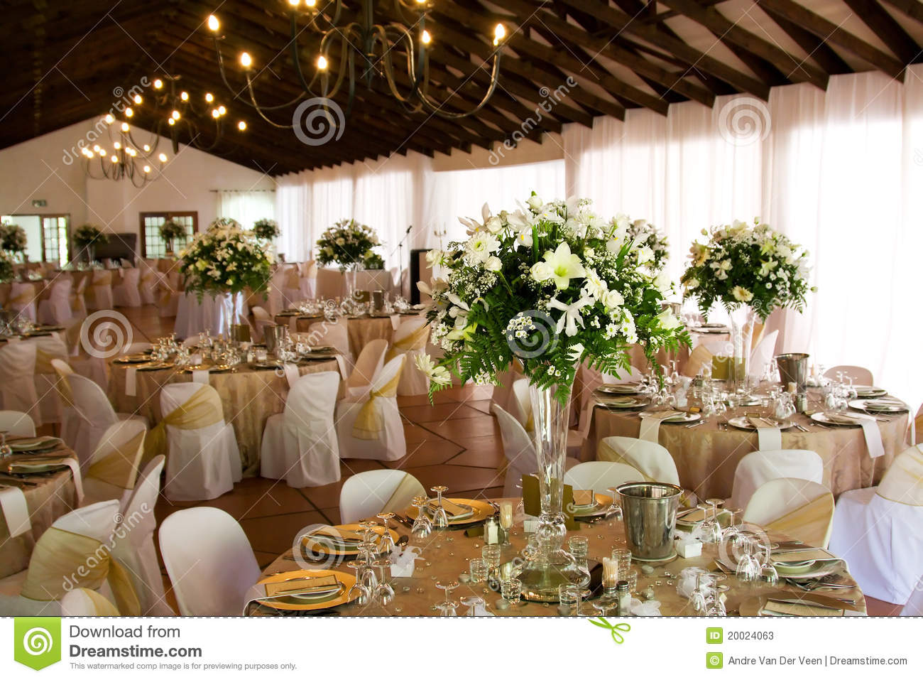 Indoors Wedding Reception Venue With Decor Stock Photos