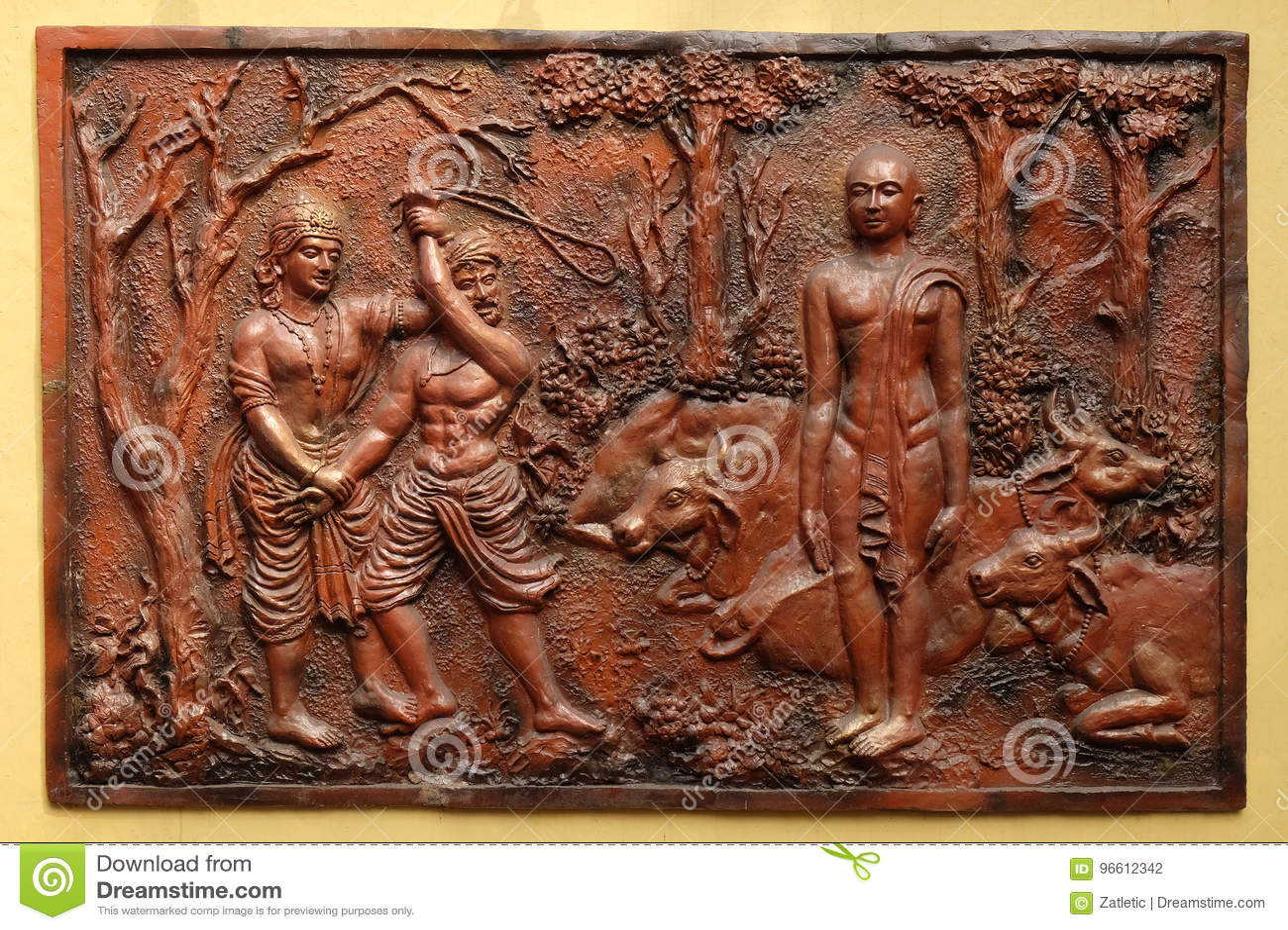 Indra prevents an ignorant cowherd from assaulting Bhagavan Mahavira