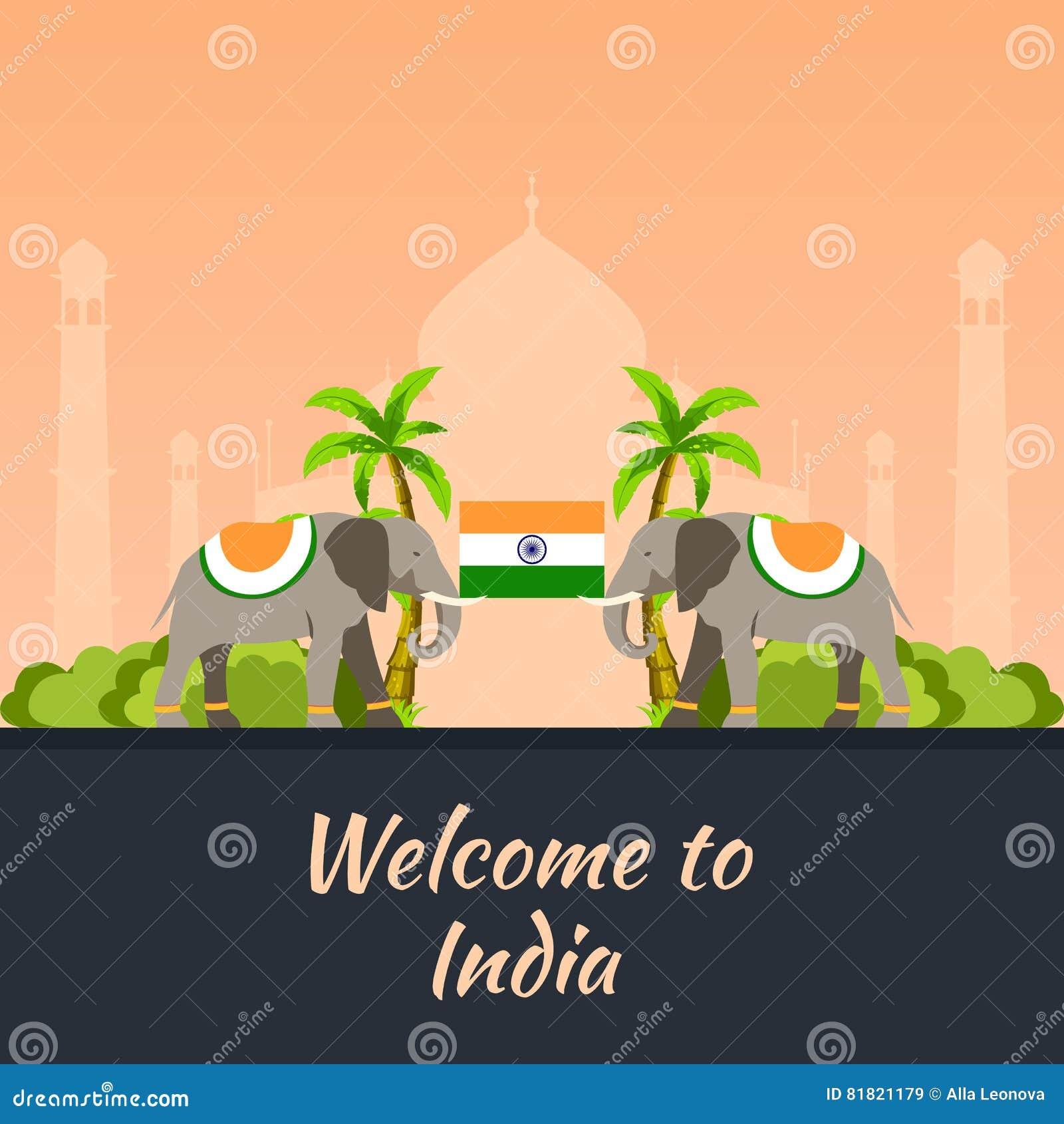 Indu Turystyka Podróżny ilustracyjny indianin Nowożytny płaski projekt Indiański słoń Taj mahal, Lotosowa świątynia, brama India,