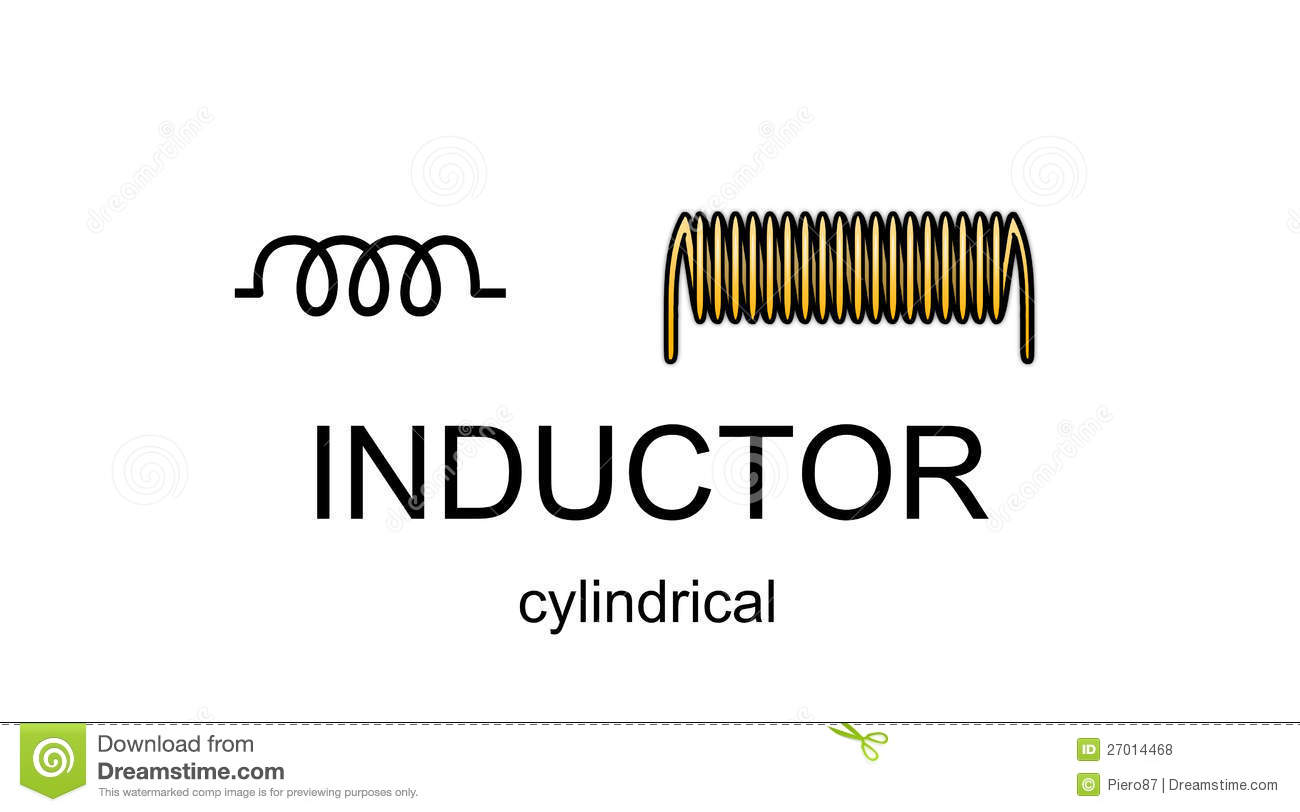Inductor icon and symbol stock illustration Illustration of field