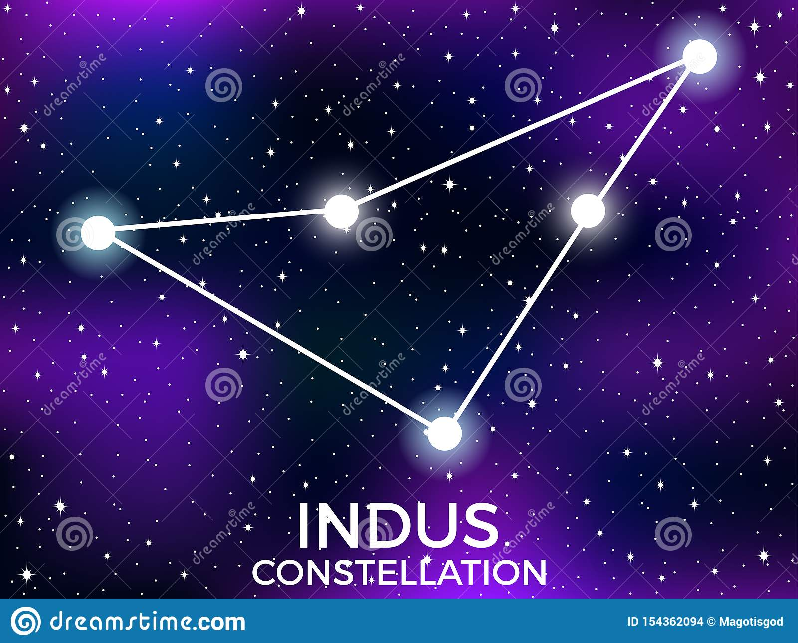 Indus constellation. Starry night sky. Cluster of stars and galaxies. Deep space. Vector