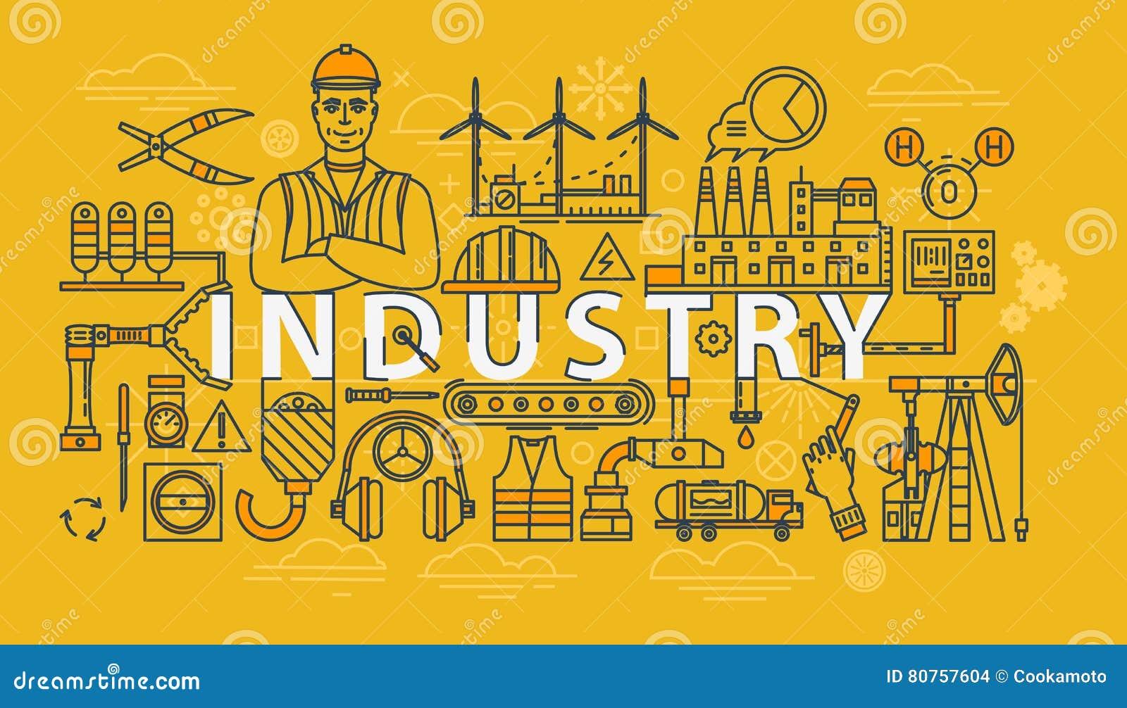 Industriële banner van de de industrie de dunne lijn