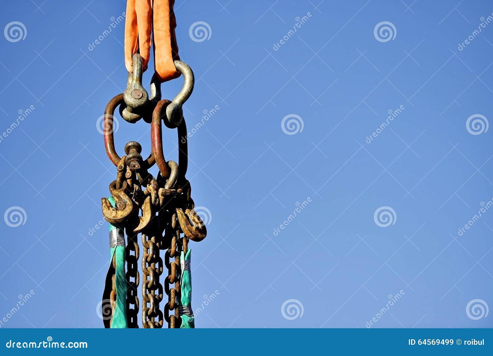 Industriële Ketting En Haken Stock Afbeelding Afbeelding Bestaande