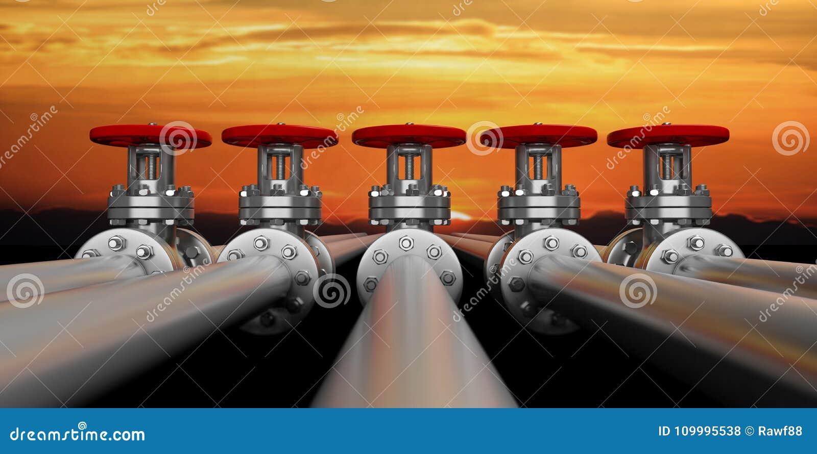 Industriële pijpleidingen en kleppen op hemel bij zonsondergangachtergrond, banner 3D Illustratie