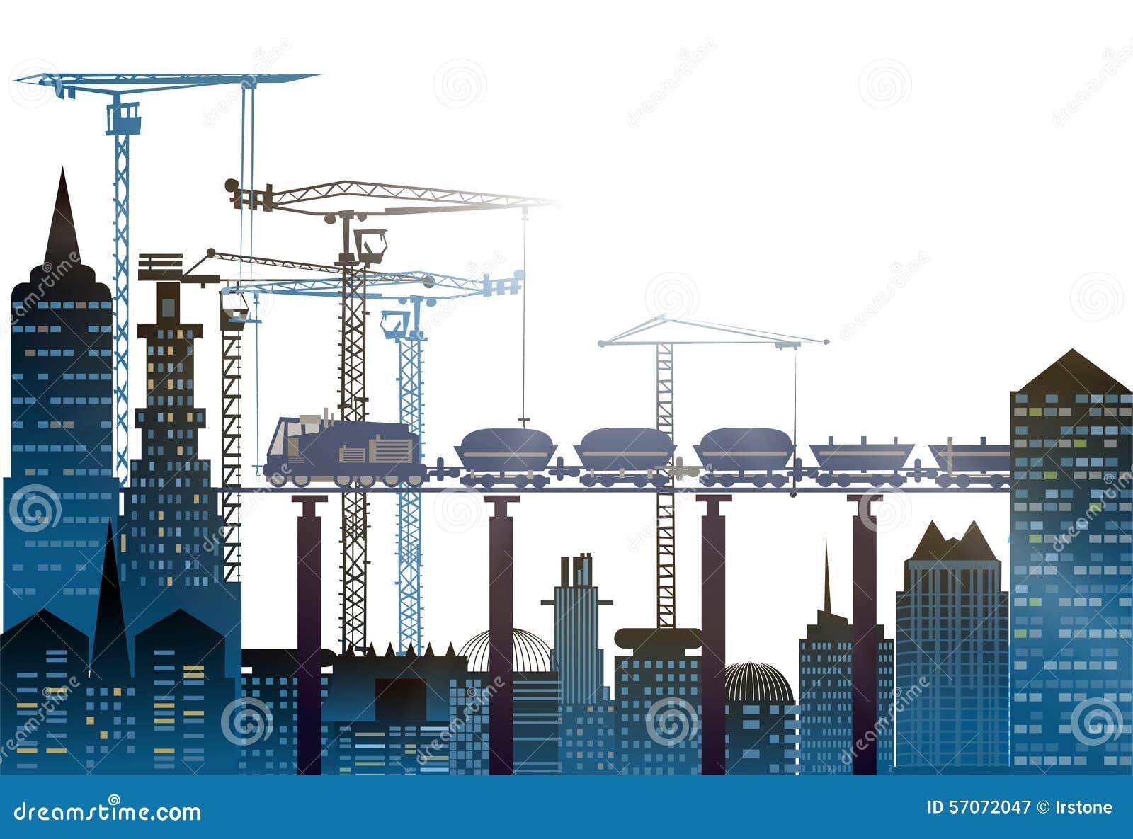 Industriële plaatsmening met kranen Zware industrieachtergrond