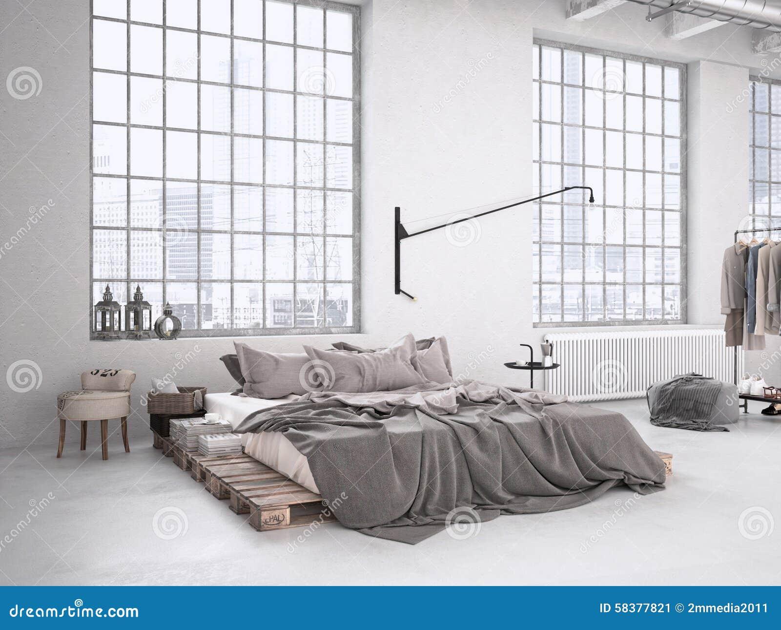 Industriële Slaapkamer Het 3d Teruggeven Stock Afbeelding ...