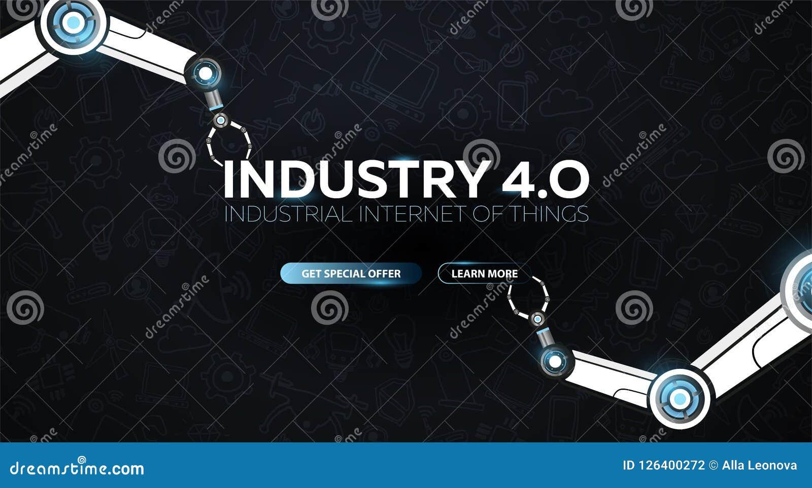 Industri 4 0 baner med den robotic armen Smart industriell revolution, automation, robotassistenter också vektor för coreldrawill