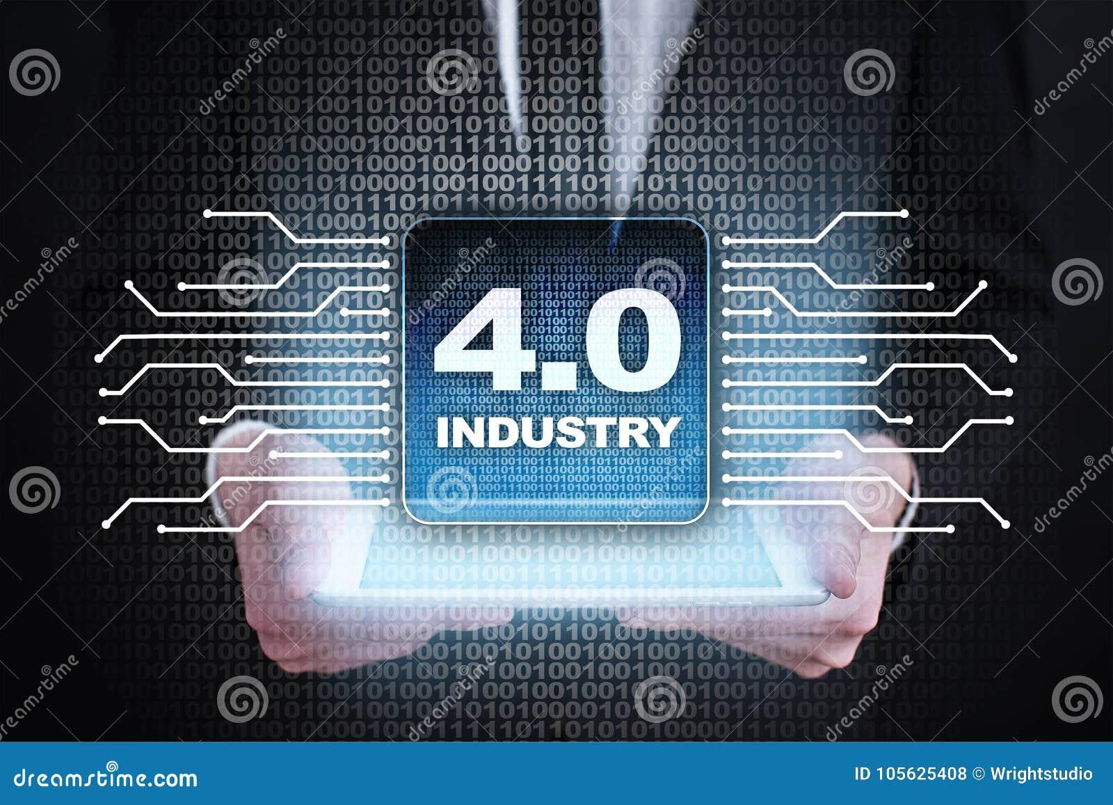 Industri 4 IOT E Smart fabriks- begrepp industriella 4 0 processinfrastruktur Bakgrund