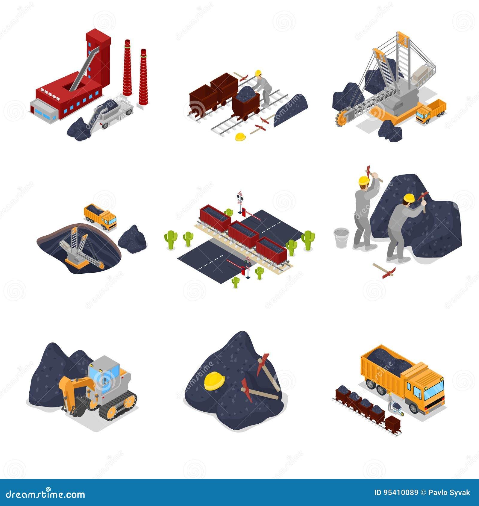 Industria carboniera isometrica con i lavoratori nei miei con l escavatore, il minatore e l attrezzatura