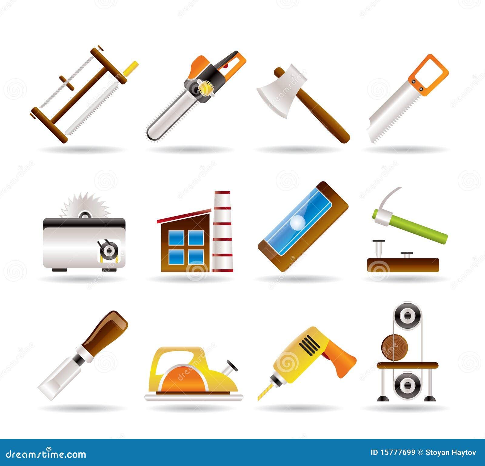 Industria de la carpinter a e iconos de las herramientas - Herramientas de carpinteria nombres ...